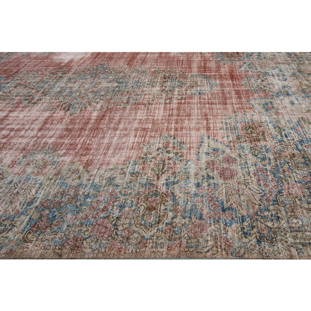 """Red Apadana-Antique Persian Distressed Rug, 9'5"""" X 13'0"""" For Sale - Image 8 of 9"""