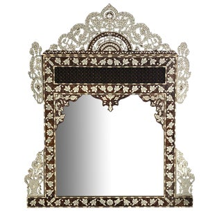 Early 20th Century Antique Syrian Mirror With Mother of Pearl Inlay For Sale