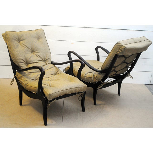 Pair of Two Lounge Chairs by Ezio Longhi 1950's, New Upholstery For Sale - Image 9 of 9
