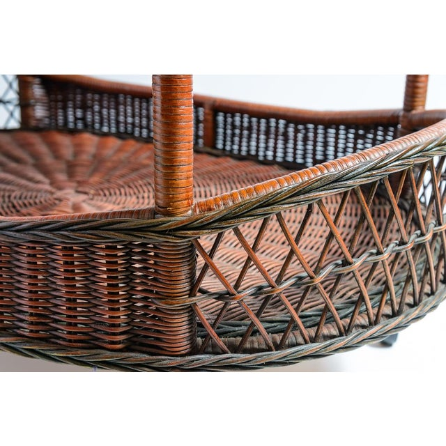 Vintage Large Woven Rattan Trolley/Bar-Cart. Belgium, C.1970 For Sale - Image 10 of 12
