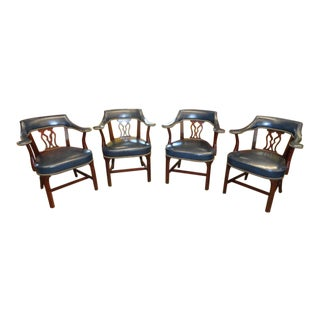 Hickory Chair Leather Chippendale Style Library Chairs - Set of 4