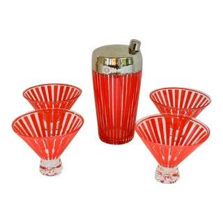 Vintage Martini Shaker and Martini Glasses - Set of 5 For Sale