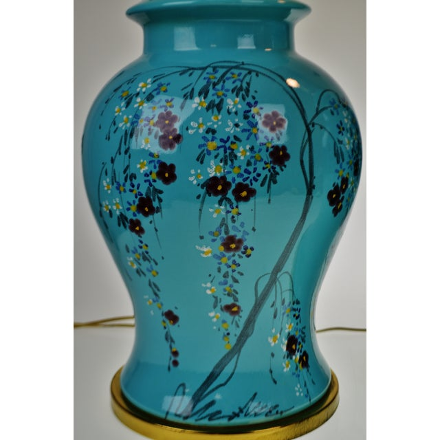 Vintage Large Scale Aquamarine Blue Hand Painted Asian Ginger Jar Lamps - A Pair Condition consistent with age and...