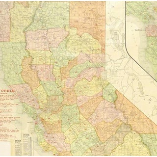 Vintage California Map, 1906 Preview
