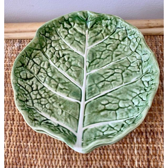 Green Mid 20th Century Green Cabbage Leaf Plates Portugal - Set of 6 For Sale - Image 8 of 13