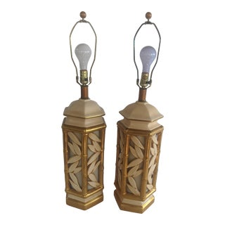 Vintage Hollywood Regency Ceramic Faux Bamboo Gilt Lamps - a Pair For Sale