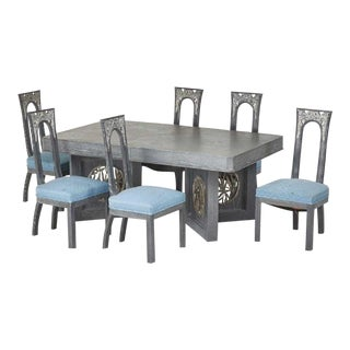 James Mont Designs Cerused Extension Dining Table and Six Side Chairs, New York 1960s For Sale