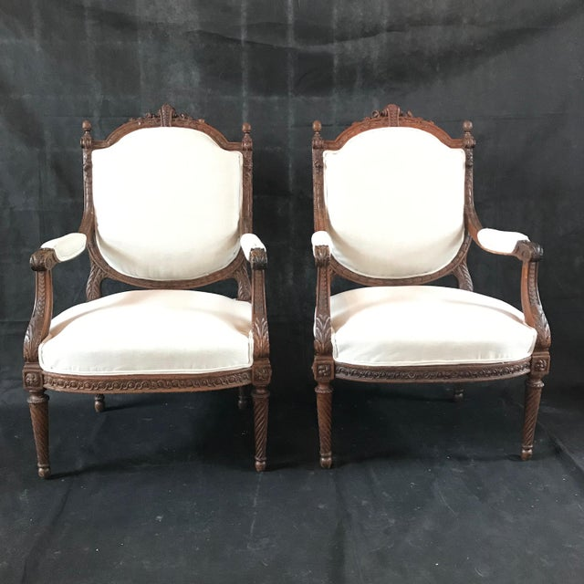 French Carved Walnut Armchairs - a Pair For Sale - Image 11 of 11