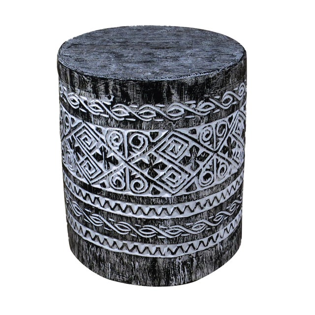 Traditional Folk Art Black Balinese Accent or Side Table For Sale - Image 3 of 3