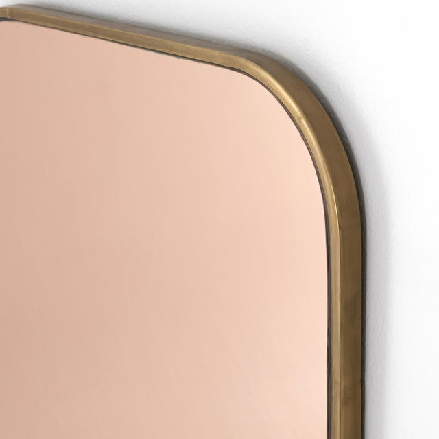 Rose Mirrored Glass & Brass Mirror For Sale - Image 4 of 6