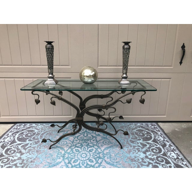 Metal Arts and Crafts Glass Top Iron Console Table For Sale - Image 7 of 9