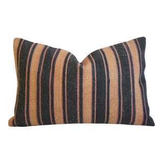 """Boho-Chic Striped Turkish Wool Carpet Rug Feather/Down Pillow 24"""" X 16"""" For Sale"""