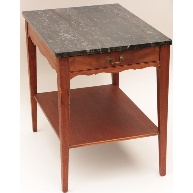 Hollywood Regency Portoro Black Marble and Mahogany SideTable For Sale - Image 3 of 11