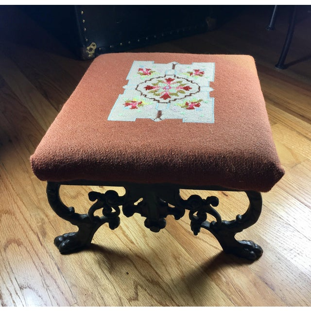 Rococo Kingman Needlepoint & Cast Iron Claw Foot Stool For Sale - Image 3 of 11
