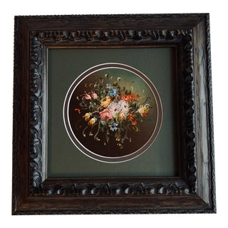 Early 20th Century Antique Miniature Floral Oil on Board Framed Painting For Sale