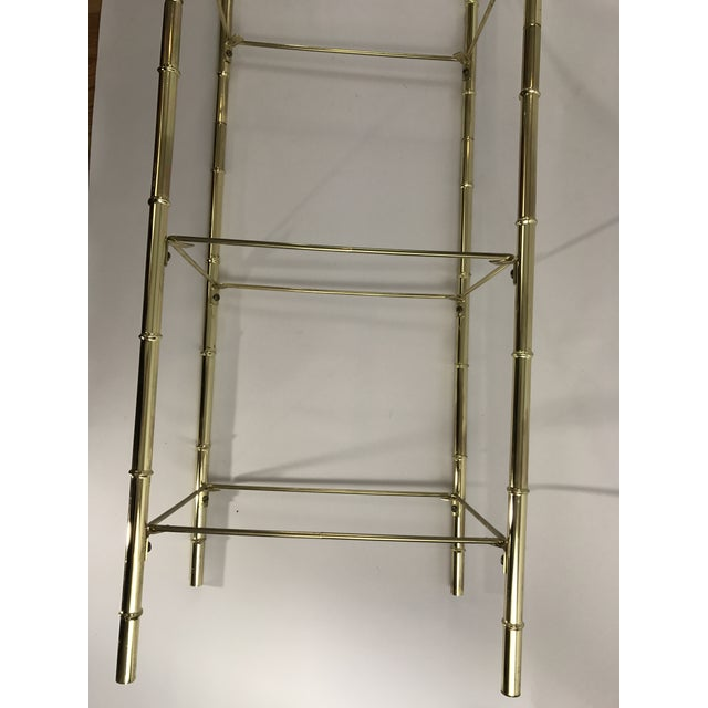 Hollywood Regency Faux Bamboo Arch Shaped Brass Etagere Frame For Sale In Salt Lake City - Image 6 of 8