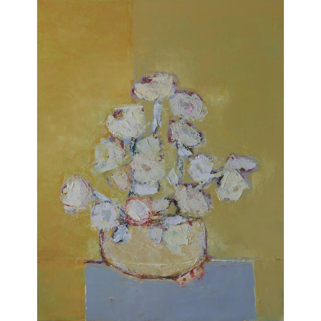 "Bill Tansey ""White Spring Flowers"" Abstract Floral Oil Painting on Canvas For Sale"