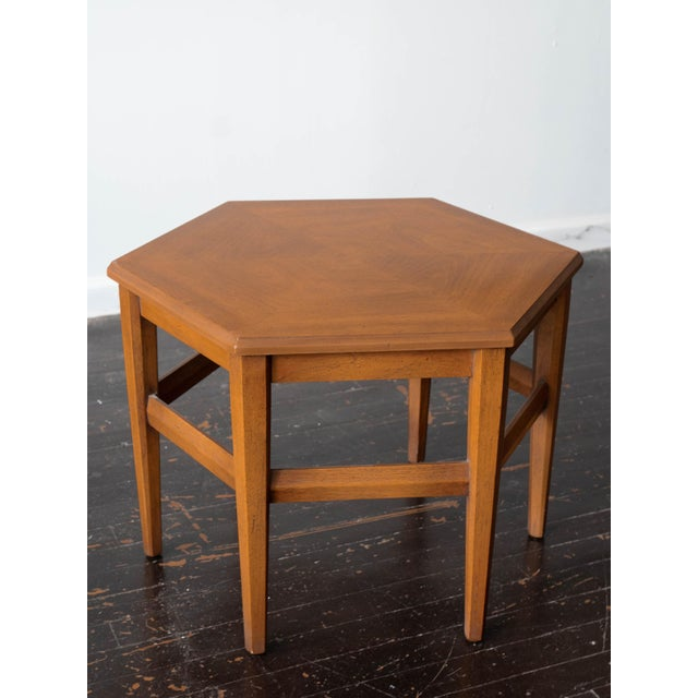 1960s Vintage MCM Hexagon Side Tables by Drexel Heritage - a Pair For Sale - Image 5 of 6