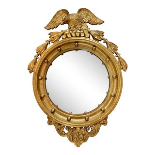 Antique 19th Century Carved Giltwood Convex Mirror With Eagle For Sale