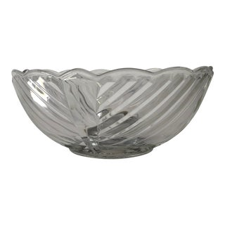 Art Deco Style Swirl Design With Chrome Base Serving Bowl For Sale