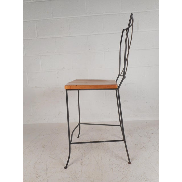 Modern Set of Four Mid-Century Iron and Wood Bar Stools For Sale - Image 3 of 12