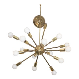 Mid-Century Atomic Sputnik Chandelier in Brass For Sale