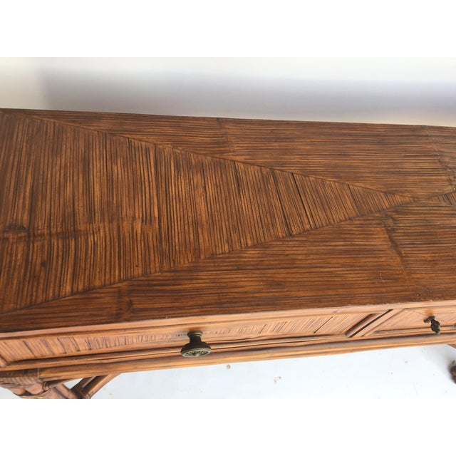 Bamboo Ethan Allen Burnt Bamboo Rattan 3 Drawer Console Table For Sale - Image 7 of 7