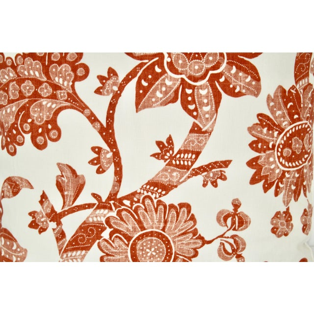 Contemporary Contemproary Jacobean Burnt Red and White Floral Print Pillow For Sale - Image 3 of 5