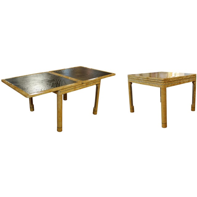 Mid-Century Modern Enrique Garcel Lacquer Leather Expandable Dinette Game Table For Sale - Image 11 of 12