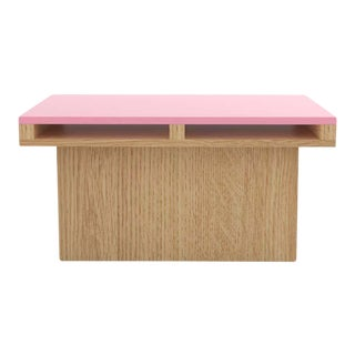 Contemporary 102 End Table in Oak and Pink by Orphan Work, 2020 For Sale