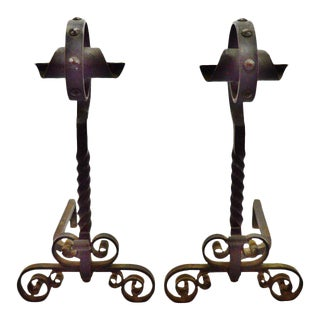 Early Wrought Iron Andirons - a Pair