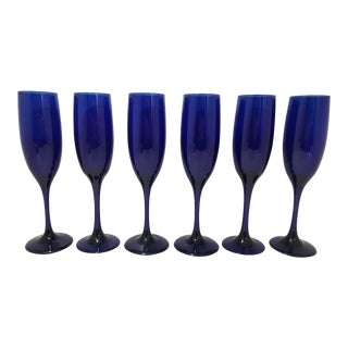 1970s Vintage Cobalt Blue Libbey Glass Flutes - Set of 6 For Sale