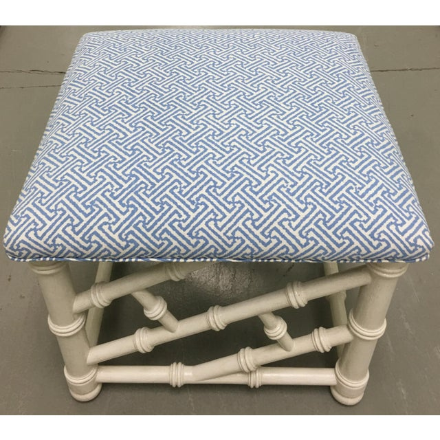Asian White Faux Bamboo Bench with Quadrille Upholstery For Sale - Image 3 of 4