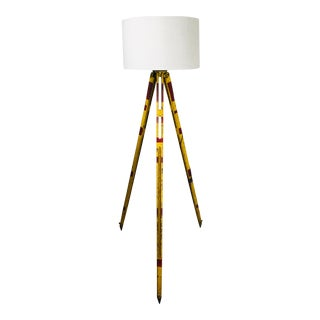 Vintage Red and Yellow Surveyors Tripod Floor Lamp with Linen Shade For Sale