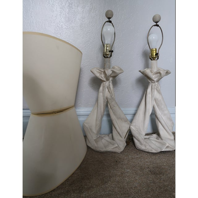 John Dickinson John Dickinson or Serge Roche Style Plaster Drapery Lamps- a Pair For Sale - Image 4 of 11