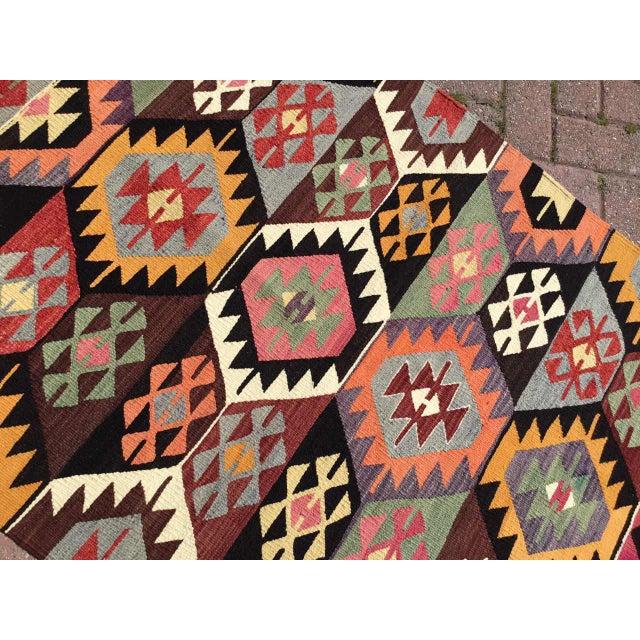 1960s Colorful Vintage Turkish Kilim Rug For Sale - Image 5 of 10