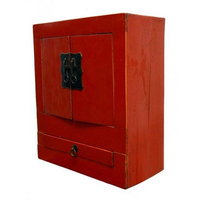 Asian Ancient Chinese Red Lacquered Square Cabinet with Brass Hardware from the 1900s For Sale - Image 3 of 8