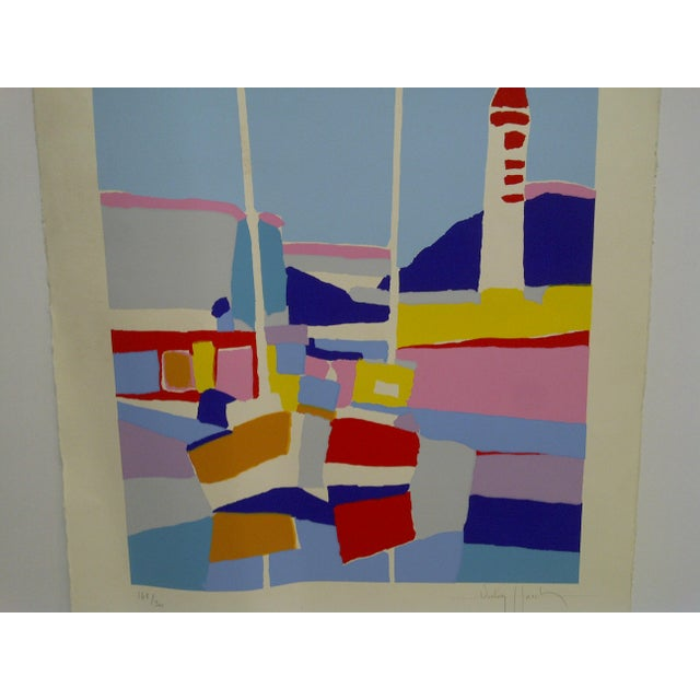 "Late 20th Century Colorful Abstract French Print ""De Phare Rouge"" by Hasch For Sale - Image 5 of 8"