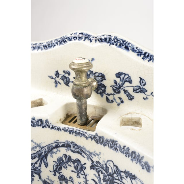 Porcelain Sink Basin With Blue Floral Pattern For Sale In Louisville - Image 6 of 8