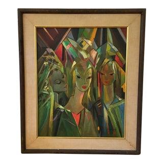 Stylized Portrait of 3 Women For Sale