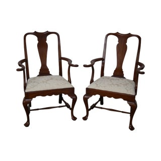 Henkel Harris Solid Cherry SPNEA Queen Anne Armchairs - A Pair For Sale