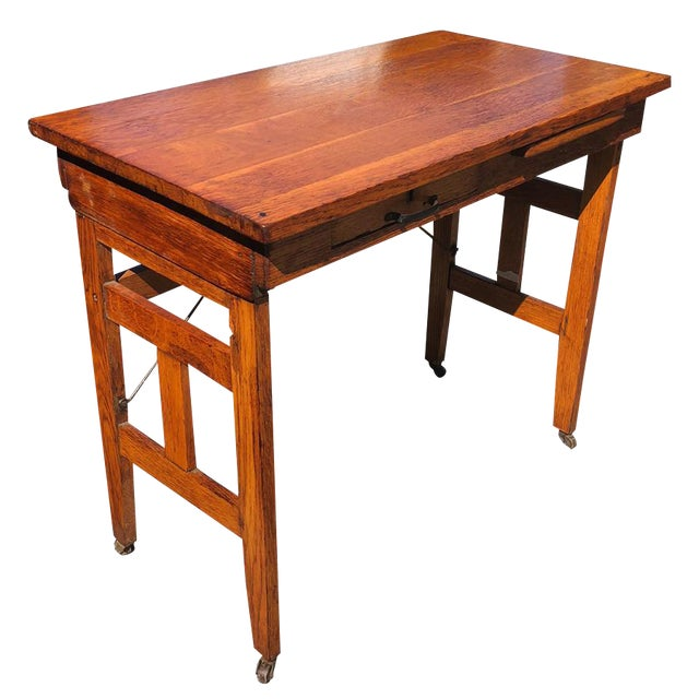 Antique Arts & Crafts Mission Oak Portable Typewriting Table Writing Desk For Sale