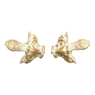 Niermann Weeks Gilded & Aged Acanthus Finials - A Pair