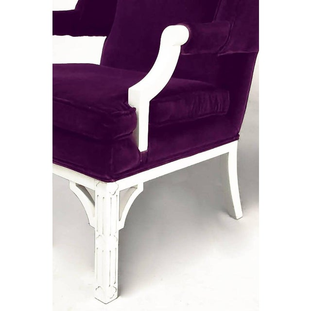 Erwin-Lambeth Plum Velvet Neo-Chippendale Wing Chair For Sale In Chicago - Image 6 of 10