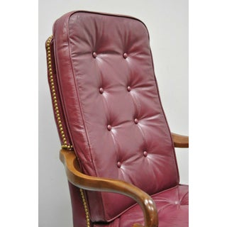 Vintage Burgundy Tufted Leather Queen Anne Gooseneck Office Desk Arm Chair Preview