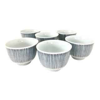 Japanese Blue and White Porcelain Ceramic Tea Cups Small Falling Rain Set of Six (6) Vintage Chinese Asian For Sale