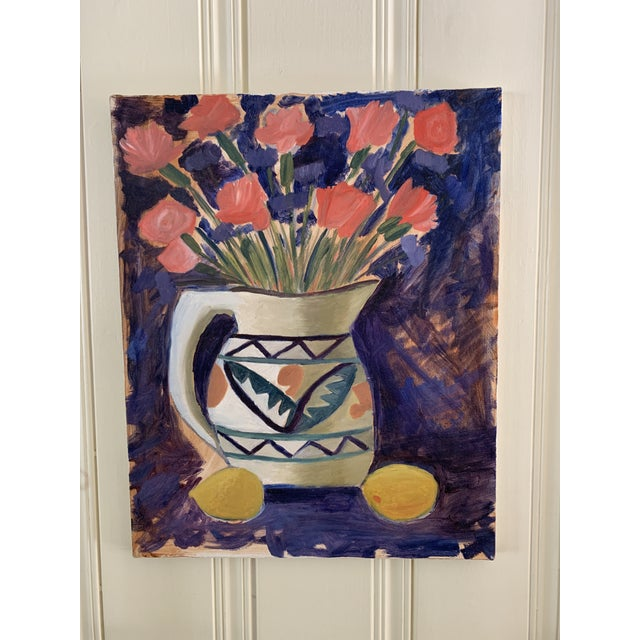 1970s Vintage Vivid Floral Still Life Canvas Painting For Sale - Image 5 of 8