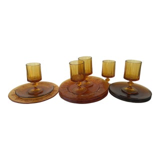 1960s Vintage Amber Glass Tableware for 5 - 15 Pieces For Sale