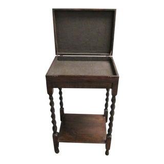 Antique Oak Jacobean Revival Bible Box Stand Table For Sale