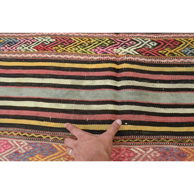 "Vintage Braided Rug. Flat Weave Area Rug - 4' 6"" X 6' 11"" For Sale - Image 10 of 11"